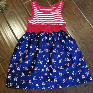 Sleeveless Red white and blue 2T dress